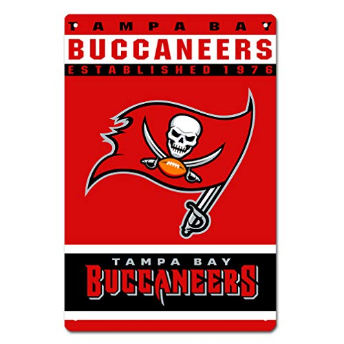 (MamaTina Custom Tampa Bay Buccaneers American Football Team Design Metal Tin Signs for Home Wall Decor Size 12x8 Inches)