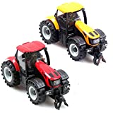 E-SCENERY Realistic Farm Tractor Truck Toy with Music and Flash Light, Blowing Tractor Truck Carrying Trailer, Farmer Car Toy, Christmas Gift (Random Color)