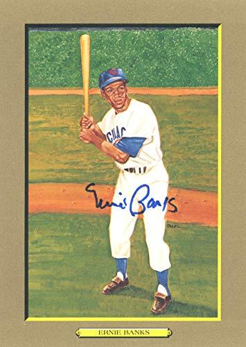 (Ernie Banks Autographed Perez-Steele Great Moments Postcard #21 Chicago Cubs Beckett BAS #E46599)