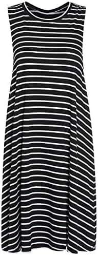 ROMWE Women's Casual T-Shirt Sleeveless Swing Dress Tunic Tank Top Dresses