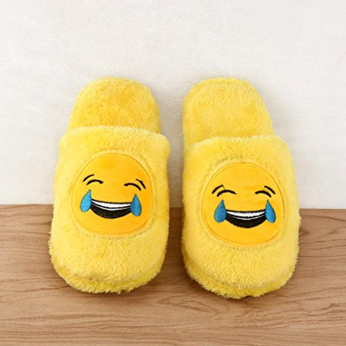 Transer® Unisex Zuhause Hausschuhe Plüsch Baumwolle+TPR Warm Weich Schuh (Bitte achten Sie auf die Größentabelle. Bitte eine Nummer größer bestellen. Vielen Dank!) 35-43 A