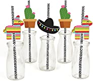 Let's Fiesta - Paper Straw Decor - Mexican Fiesta Party Striped Decorative Straws - Set o