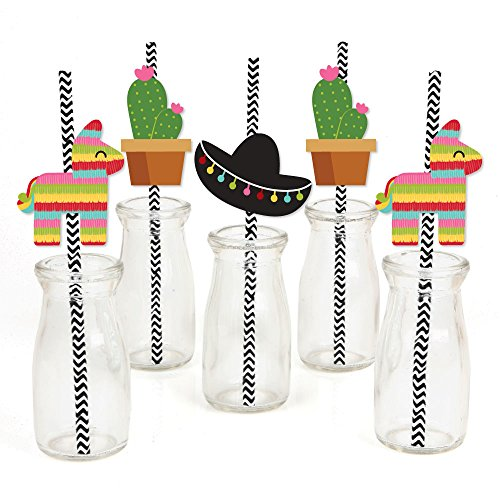 Let's Fiesta - Paper Straw Decor - Mexican Fiesta Party Striped Decorative Straws - Set of -
