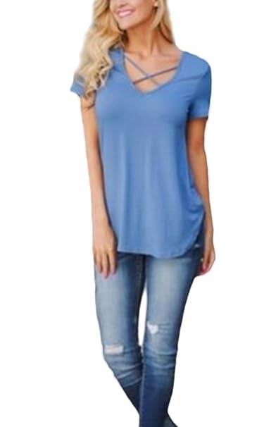 Camisetas Mujer Manga Corta Verano Basicas Slim Tops Blusa Cuello ...