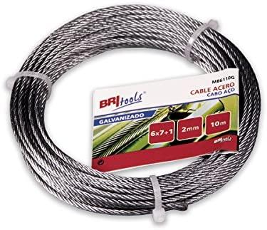 BriTools M86110G Cable acero galvanizado 2 mm Set de 10 Piezas