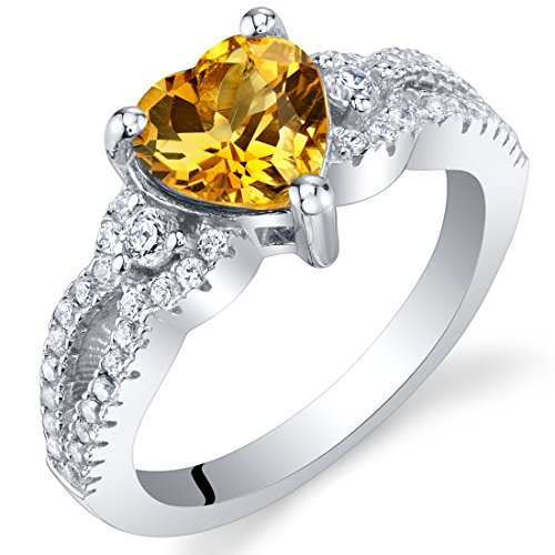 Citrine Sterling Silver Heart Soulmate Ring Size 8