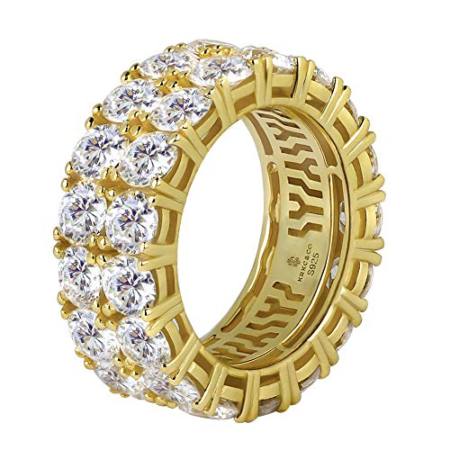 KRKC&CO 14k Gold Ice Out Rings, 925 Sterling Silver Two-Row CZ Rings, Prong Setting 5A CZ Stone Rings, Solid No Tarnish Rapper Urban Street-wear Hip Hop Rings Size 8 9 10 for Party Band (Gold, 8)
