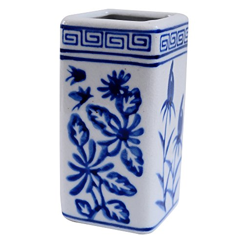 China Blue-and-White Porcelain Desk Organizer Pen Holder,FUYUAN Pen Pencil Container Brush Pot Brush Holder Desk Organizer Decoration,Luxury Gift and Exquisite Handicraft 365 -