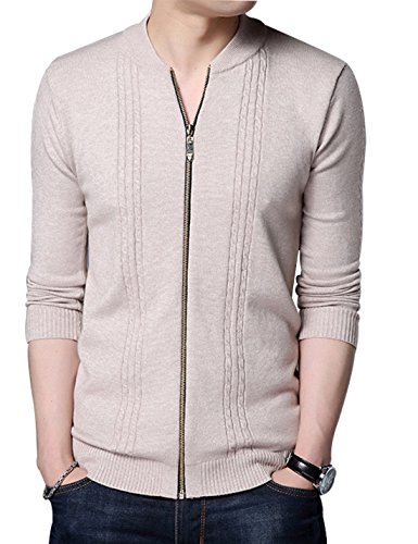Yeokou Men's Casual Slim Short Autumn Spring Knit Full Zip Up Cardigan Sweater Khaki L by Yeokou