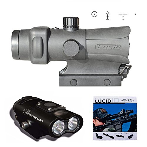 LUCID Optics HD7 Red Dot Sight, Generation III (Black, 4 Selectable Reticle Options) & C3 Weapons Light Amp Red Dot Scope