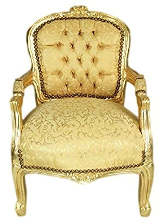 Casa Padrino Baroque High Chair Gold Pattern Gold Armchair