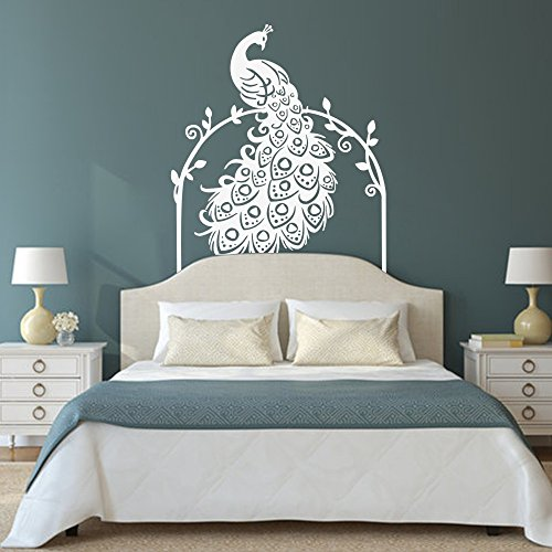 Vinyl Peacock Wall Decal Animal Wall Decal Bird Wall Decal Peafowl Art Wall Stickers Wall Graphic Wall Mural Bedroom Wall Decoration C(White)