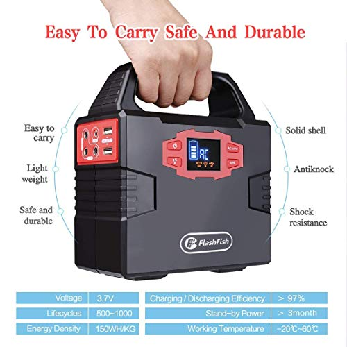 150WH Portable Generator Power Outage Station Supply for CPAP Camera Laptop, Camping Power Bank Pack Recharged by Solar Panel/Wall Outlet/Car, Backup Battery with 110V AC Outlet, DC 12V and USB Ports