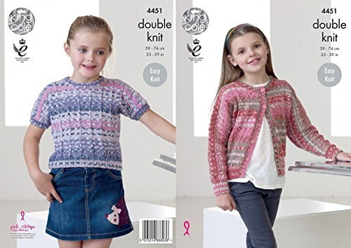King Cole Girls Cardigan & Top Drifter Knitting Pattern 4451 DK by King Cole by King Cole