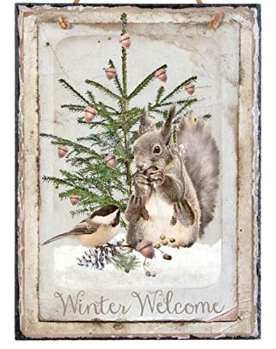 - Twisted Rustics Rustic Winter Welcome Slate Sign