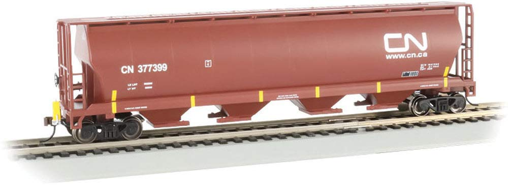 Canadian 4-Bay Cylindrical Grain Hopper with Flashing End of Train Device Canadian National (Oxide Red) - HO Scale