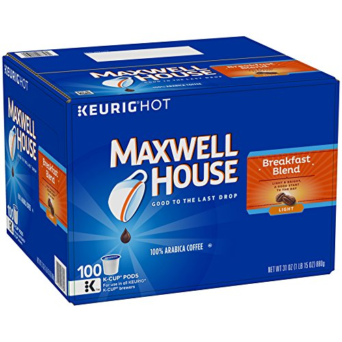 Maxwell House Breakfast Blend Coffee, K-CUP Pods, 100 Count (Cup K Bulk Coffee)