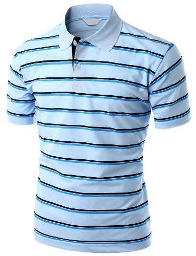 Men's 180-200 TC Silket Striped Polo Dri Fit Collar T-Shirt SKYBLUE L