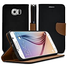 Galaxy S6 Case, MagicMobile® Hybrid PU Leather Flip Cover Case [Heavy Duty] for Samsung Galaxy S6 Folio [Wallet] Protective Case with Foldable Back Stand Cover (Black)