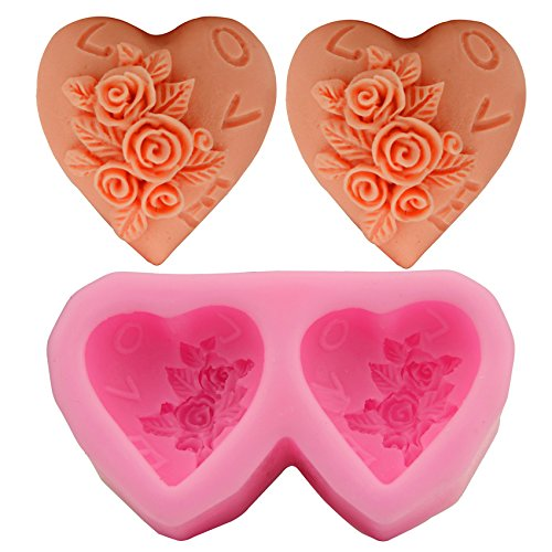 Let'S Diy Double Love Rose Shape Silicone Soap Mold Fondant Cake Decorating Styling Tools Bakeware Cooking Tools