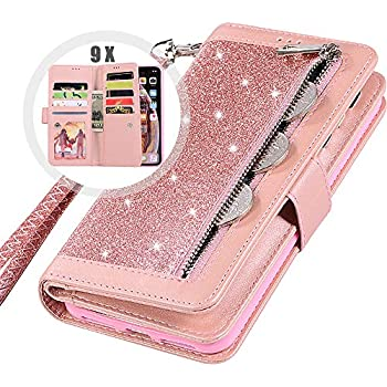 Amazon.com: iPhone XR Bling Wallet Case with Strap for