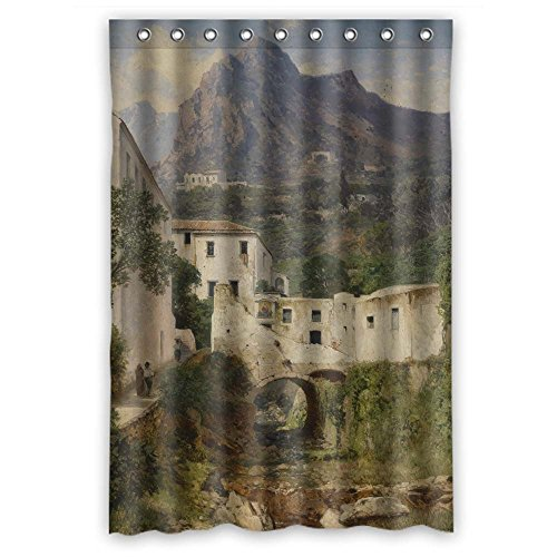 - ZEEZON Beautiful Scenery Landscape Painting Bath Curtains Polyester Best For Hotel Birthday Him Father Kids. Eco Friendly Width X Height / 48 X 72 Inches / W H 120 By 180 Cm(fabric)