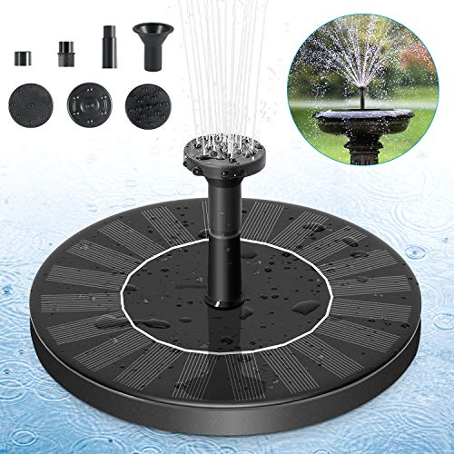 FITMAKER Solar Fountain Pump, Solar Powered Bird Bath Fountain Pump 1.4W Solar Panel Kit Water Pump, Outdoor Watering Submersible Pump for Pond, Pool, Garden, Fish Tank, Aquarium (Fountain Bird Bath Solar)