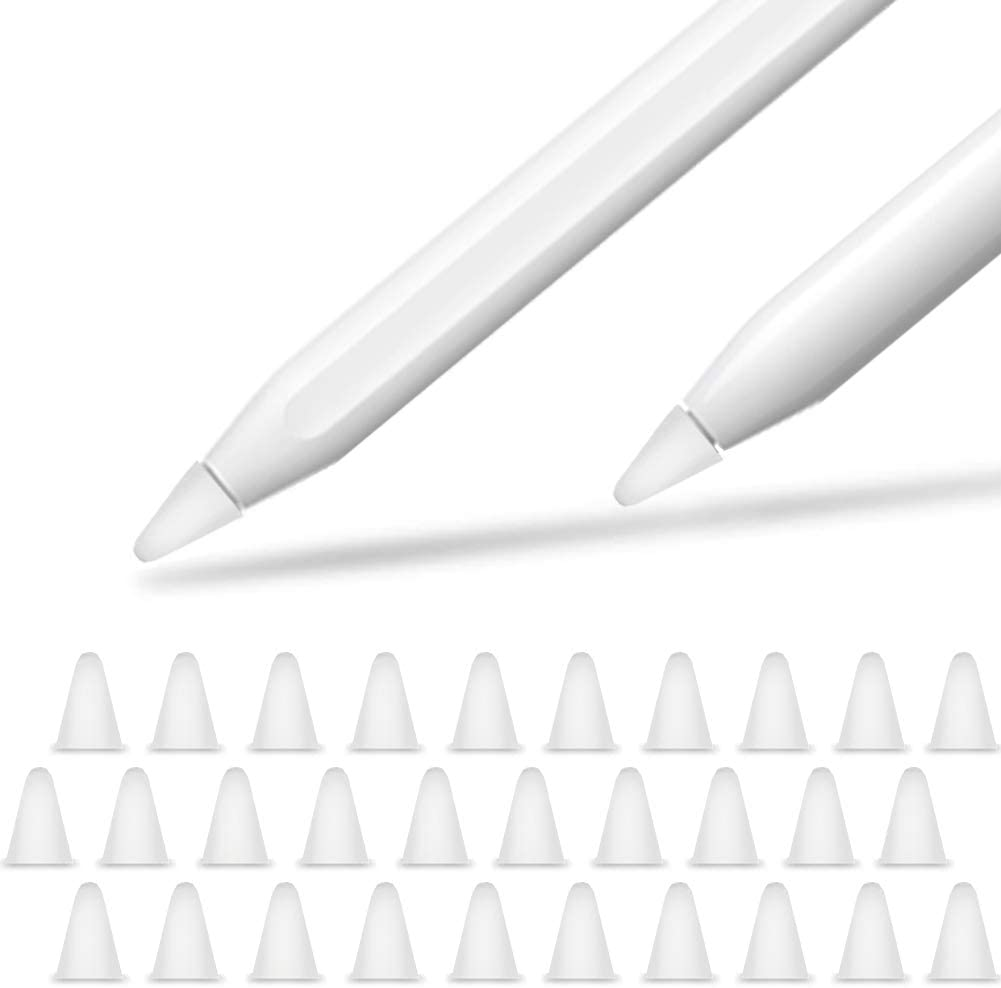 YINVA 30 PCS Cover Compatible with Apple Pencil Tip Silicone Nib Cap Accessories for Apple Pencil 1 and Apple Pencil 2 Gen(White)