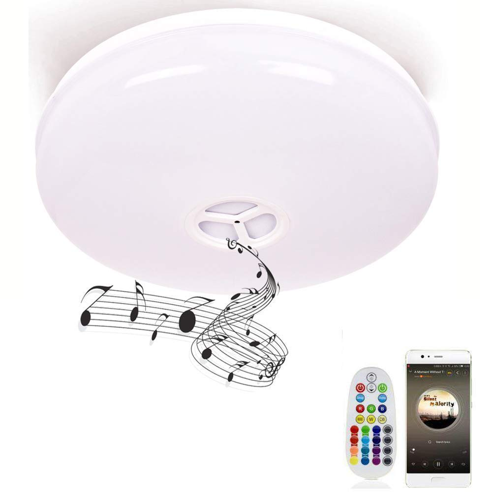 Waterproof rgb color ceiling light flush mount with bluetooth speaker 15in 1800lm 6500k daylight white 24wled ceiling lamp for kitchen bathroom