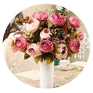 13 Heads/Bouque Artificial Flowers Silk Flower European Fall Vivid Peony Fake Leaf Wedding Home Party Decoration 38