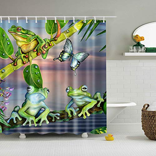 gongli3352 Gray Sky White Clouds Green Bamboo Branches 3 Frogs Butterflies Red Flowers Bathroom Accessories 70X70 inches + 12 Hooks + 12 Holes