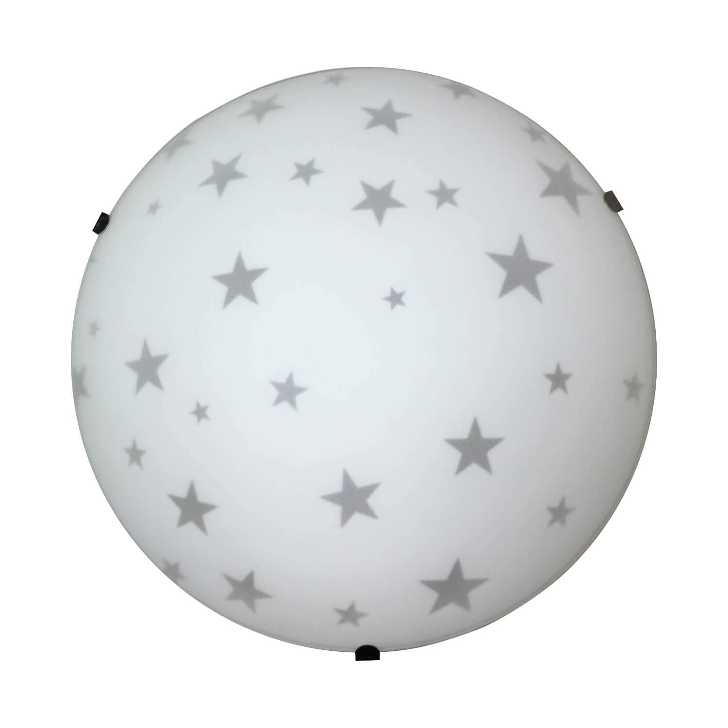 Plaf/ón de cristal satinado 25 cm de di/ámetro color blanco decoraci/ón con estrellas Onli