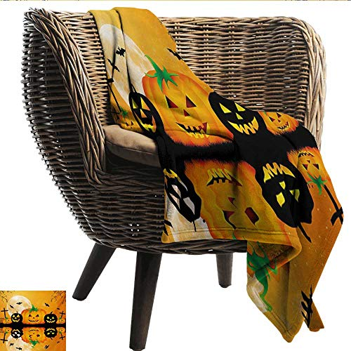 EwaskyOnline Halloween Baby Blanket Spooky Carved Halloween Jack o Lantern and Full Moon with Bats and Grave Lake Recliner Throw,Couch Throw, Couch wrap 80
