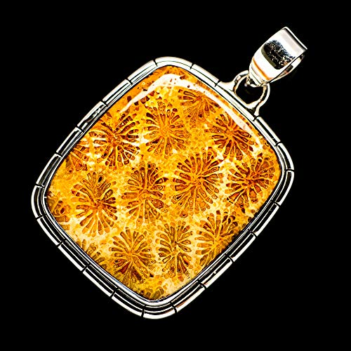 """Ana Silver Co Fossil Coral Pendant 1 3/4"""" (925 Sterling Silver) - Handmade Jewelry, Bohemian, Vintage PD698468 from Ana Silver"""