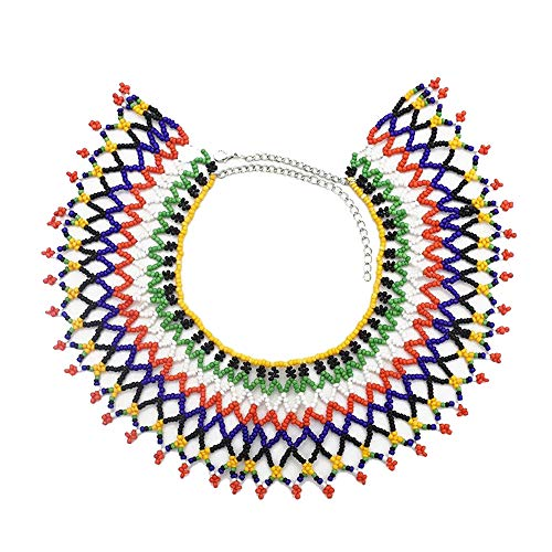 (Idealway African Zulu Beaded Necklace Tribal Choker Colorful Acrylic Indian Ethnic Bib Collar (Multi 7061))