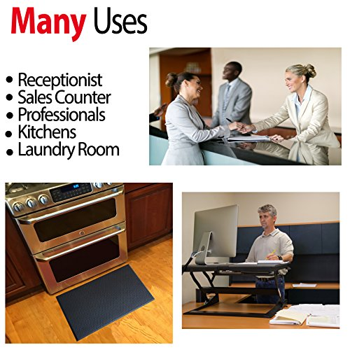 Extra Soft One Inch Standing Desk Anti Fatigue Mat and Kitchen Floor Mat - Our Softest Thickest Fatigue Mat that Uses Air Soft Foam. Stable Soft Comfort Mat, Black 30'' x 18'' by iPrimio (Image #6)