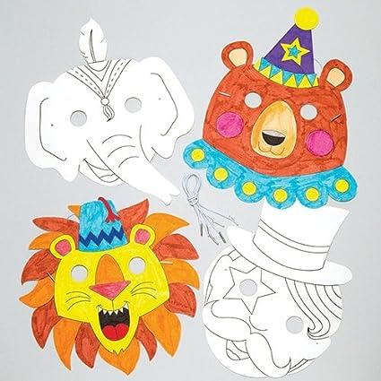 Amazon.com: Circo colour-in máscaras para niños para hacer y ...