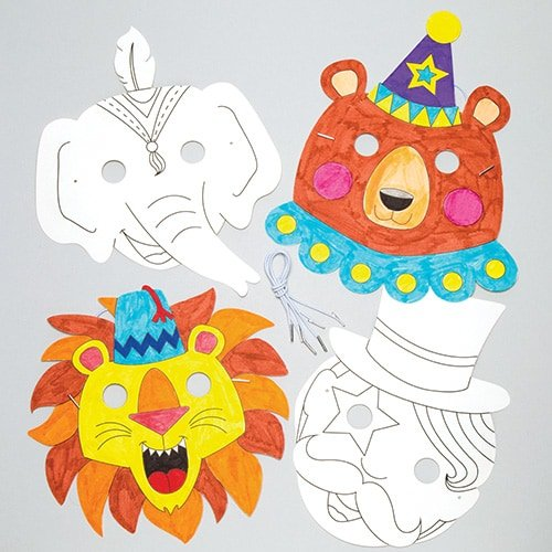 Baker Ross Circus Color-in Masks (Pack of 6) for Kids to Make & Decorate - Dress Up or Carnival / Mardi Gras Party -