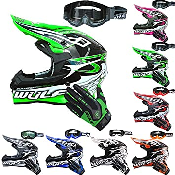55-56cm Wulfsport Adult SCEPTRE MX Motocross Motorbike Motorcycle Helmet /& Wulfsport Motorcycle Attack Gloves Pink S
