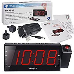 Mesqool AM/FM Digital Dimmable Projection Alarm Clock Radio with 1.8\