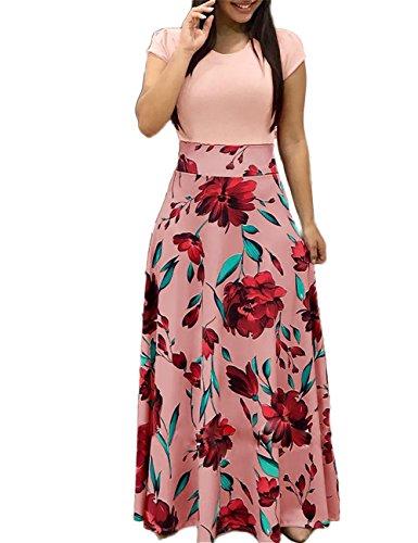 Les Femmes Dubach O-cou À Manches Courtes Robe Maxi Patchwork Imprimé Rose