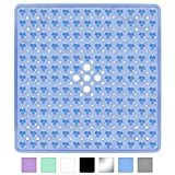 Yimobra Square Shower Mat for Bathtub, 21 x 21 Inches, Non-Slip with Drain Holes, Suction Cups, BPA, Latex, Phthalate Free, Machine Washable Bath Tub Mats, Clear Blue