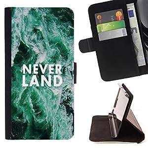 King Art - Premium-PU-Leder-Prima caja de la PU billetera de cuero con ranuras para tarjetas, efectivo Compartimiento desmontable y correa para la mu?eca FOR HTC One M7- Never Land