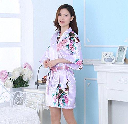 LJ&L Imitación de seda Ms. pijamas transpirables de impresión largo párrafo vestido de la rebeca suelta gran noche cómoda falda de sueño,Shallow purple,S Shallow purple