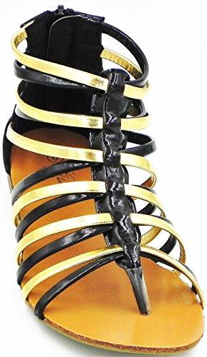 Sandalo Romano Con Cinturino A Rombo Piatto Con Cinturino