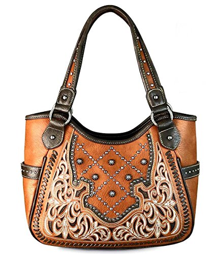 ed Carry, Studded & Embroidered Shoulder Bag w/Side Pockets (Brown) ()