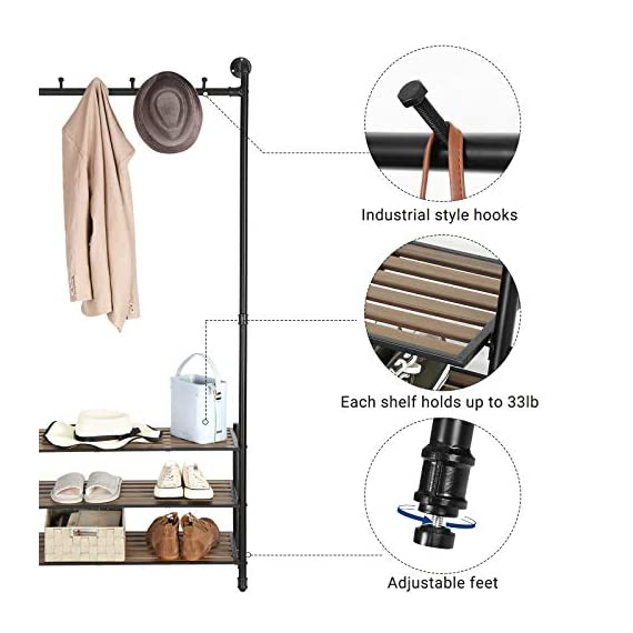"VASAGLE Coat Rack with Shoe Rack, Industrial Pipe Style Hall Tree, Angled Coat Stand for Hallway Entryway, Standing Against The Wall, Bolt Hooks and Slat Shelves, Stable Metal Frame, Black URCR75BX - INDUSTRIAL STYLE IS IN! Angled black pipes, slat shelves, bolt hooks-a hall tree overflowing with industrial accents makes a unique staple in your hallway while providing a convenient drop-off spot on your way in or out PROP AGAINST THE WALL: A blank wall is all it needs to create an attractive display, and the jackets you throw on it will complete its standout look; prop it against the wall for a stable stand, or attach it to the wall with the included hardware FROM HEAD TO TOE: With a 69.7"" high slanted design tying the whole stand together, it packs plenty of storage without taking too much space, catching hats and coats on the 5 hooks and hosting shoes on the 3 shelves - hall-trees, entryway-furniture-decor, entryway-laundry-room - 51MaywKsbHL. SS570  -"