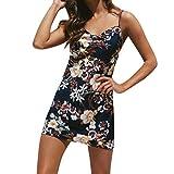 2019 Women's Casual Sleeveless O-Neck Dress Bohemia Printing Low Chest Sling Beach Mini Dresses Plus Size 3XL (Navy, S)