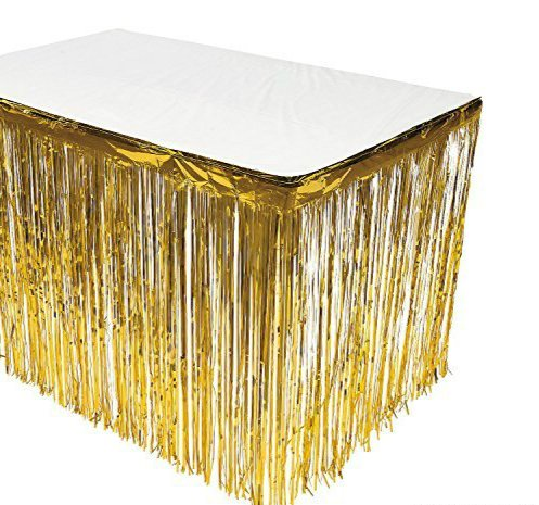 GIFTEXPRESS 2 Pack Gold Metallic Foil Fringe Table Skirt/Tinsel Foil Table Skirt/Party Table Skirt (Gold, 2-pack) -