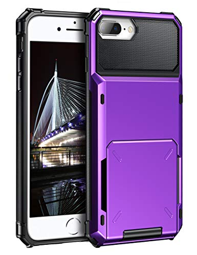 one 8 Plus Case Wallet Card Holder ID Slot Scratch Resistant Dual Layer Protective Bumper Rugged TPU Rubber Armor Hard Shell Cover for iPhone 6 Plus 6s Plus 7 Plus 8 Plus (Purple) ()
